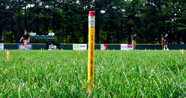 8/22/2019 Mike Orazzi | Staff A pencil in the infield during second annual Mayors Back to School Pencil Hunt held at Muzzy Field in Bristol on Thursday evening.