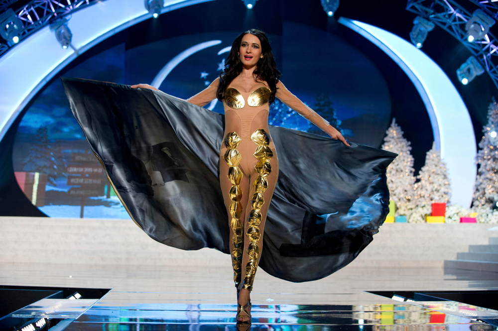 Description of . Miss Romania Delia Monica Duca performs onstage at the 2012 Miss Universe National Costume Show at PH Live in Las Vegas, Nevada December 14, 2012. The 89 Miss Universe Contestants will compete for the Diamond Nexus Crown on December 19, 2012. REUTERS/Darren Decker/Miss Universe Organization/Handout
