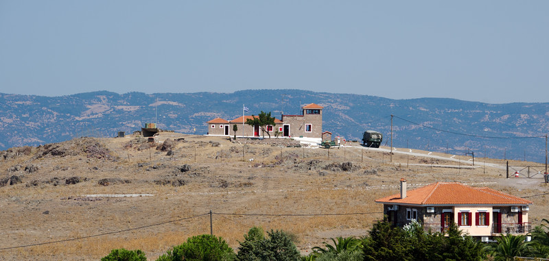 Greek military post, Molyvos (Mithymna), Lesvos, Greece. Turkey in the background.