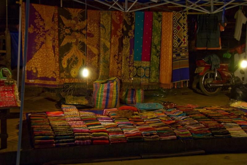 Shot of a fabric store at night market in Luang Prang, Laos