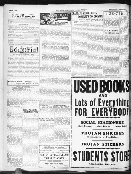 Daily Trojan, Vol. 22, No. 4, September 17, 1930