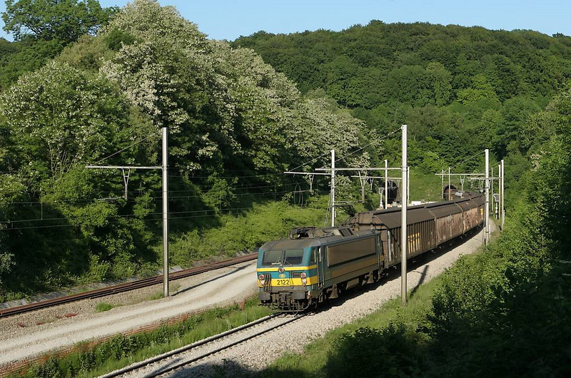 Seldom-seen guests in Montzen were the class 21 electrics. Here 2122 brings a westbound mixed freight out of the Veurs Tunnel and heads into the lovely Fourons in the late afternoon sun. Great place to spend a lazy midsummer afternoon...