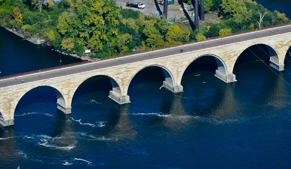 . The Stone Arch Bridge in Minneapolis. (Pioneer Press: Ben Garvin)