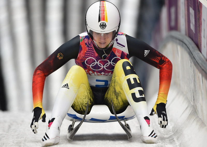 . Germany\'s Natalie Geisenberger competes during run 3 of the Women\'s Luge Singles event of the Sochi Winter Olympics on February 11, 2014 at the Sanki Sliding Center. (LEON NEAL/AFP/Getty Images)