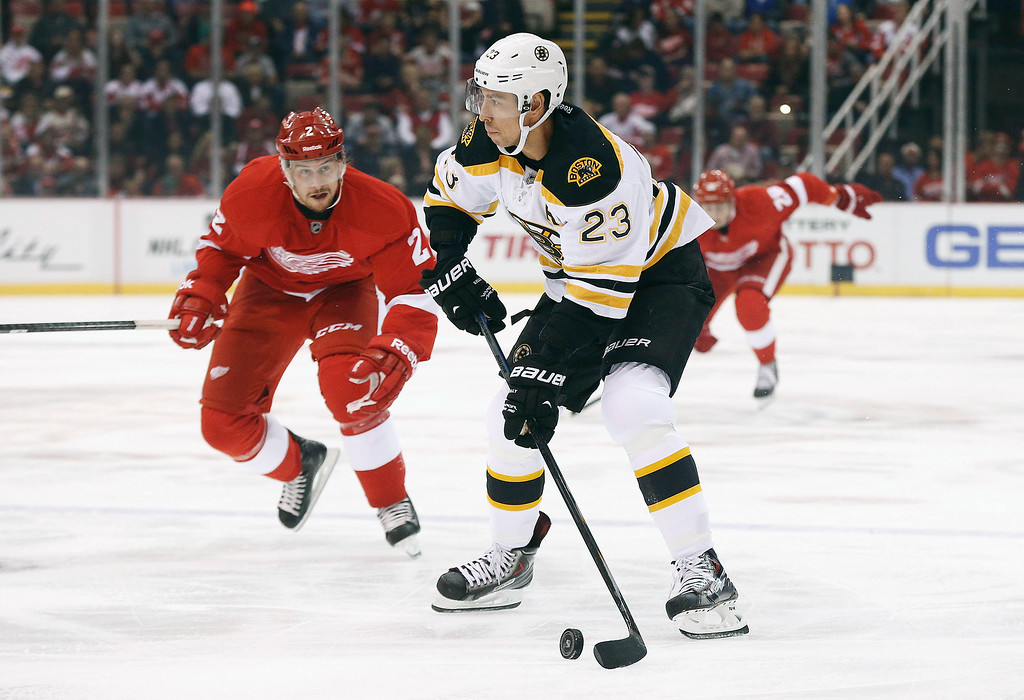 . Boston Bruins center Chris Kelly (23) looks to shoot as Detroit Red Wings defenseman Brendan Smith (2) defends in the first period of a NHL hockey game in Detroit Thursday, Oct. 9, 2014. (AP Photo/Paul Sancya)