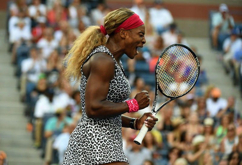 . Serena Williams reacts during her match against Caroline Wozniacki of Denmark during their 2014 US Open Women\'s Singles - finals match at the USTA Billie Jean King National Tennis Center September 7, 2014 in New York.    TIMOTHY A. CLARY/AFP/Getty Images