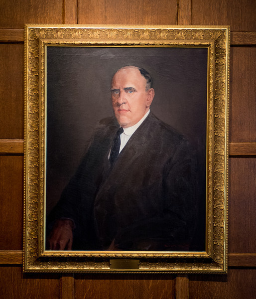 Linnaeus Hines president portrait in Heritage Lounge
