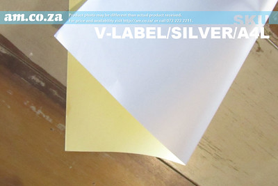 SKU: V-LABEL/SILVER/A4L, ECOLine Laser-A4 100 Sheets Waterproof Adhesive Paper (Silver A4)