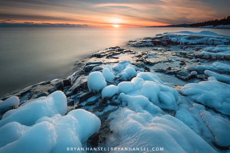 Ice and Basalt at Sunset