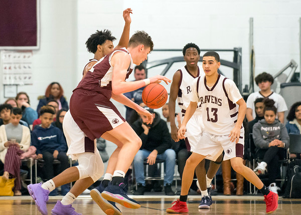 01/15/20 Wesley Bunnell | Staff Innovation boys basketball was defeated by Bristol Central at home Wednesday January 15, 2019. BC's Donovan Clingan (32).