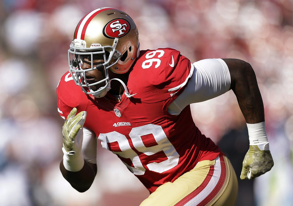 ". <p>4. ALDON SMITH <p>Bombed. Allegedly. (unranked) <p><b><a href=\'http://www.twincities.com/sports/ci_25562875/aldon-smith-arrest-49ers-troubling-cycle-starts-again\' target=""_blank\""> HUH?</a></b> <p>   (AP Photo/Marcio Jose Sanchez)"