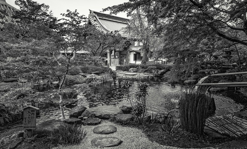 Garden with pond at Hasedera Temple.