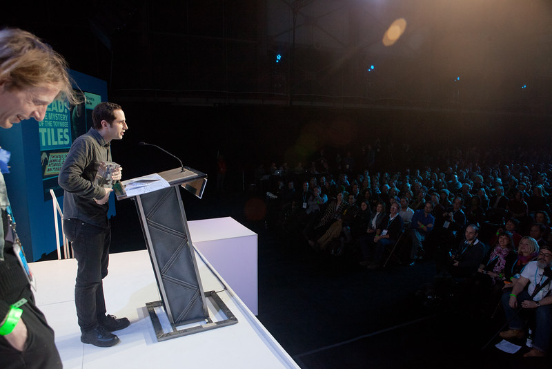 Jon Foy accepts the Directing Award for U.S. Documentary at the 2011 Sundance Film Festival. Shot this from the stage.