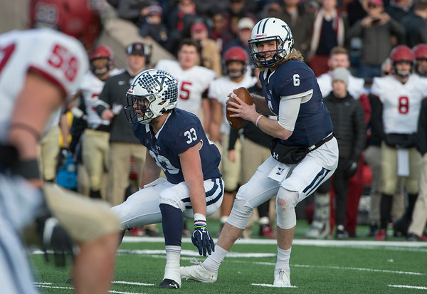 11/23/19 Wesley Bunnell | StaffrrYale rallied late in The Game against Harvard on Saturday afternoon at the Yale Bowl for a 50-43 victory in double over time. QB Kurt Rawlings (6) looks downfield to pass.