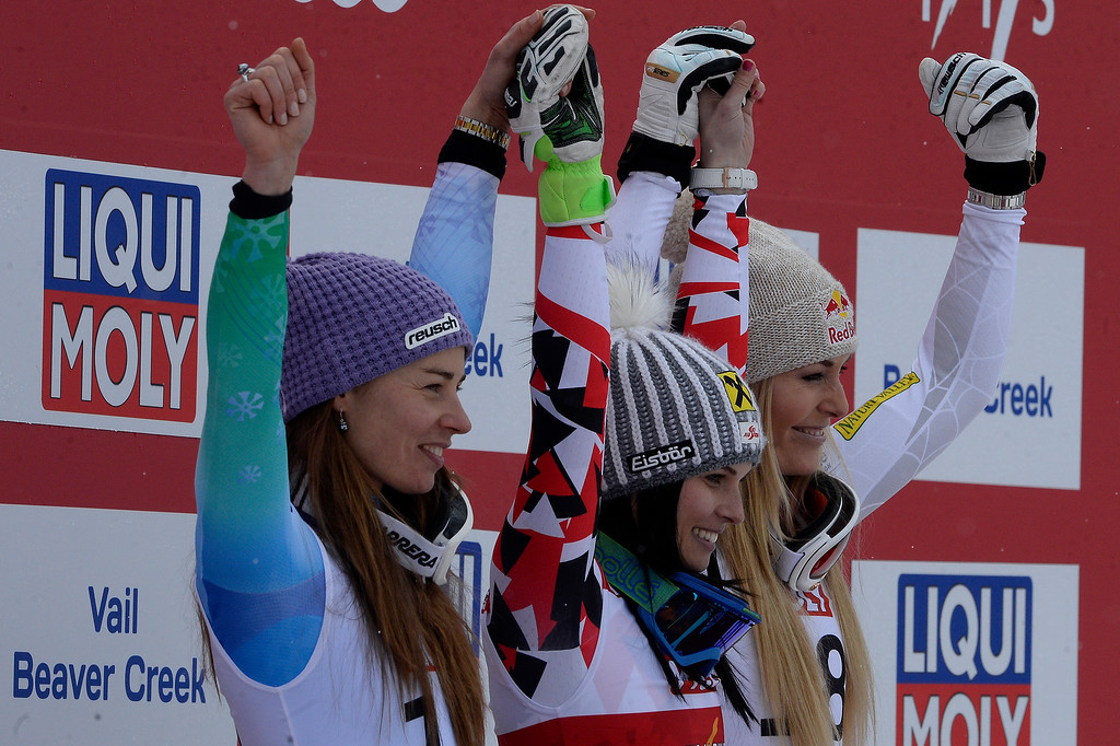 . BEAVER CREEK, CO - FEBRUARY 03: From left Tina Maze (2nd) of Slovenia, Anna Fenninger (1st) of Austria and Lindsey Vonn (3rd) of the USA celebrate during the the ladies\' super-G finals. FIS Alpine World Ski Championships 2015 on Tuesday, February 3, 2015. (Photo by AAron Ontiveroz/The Denver Post)