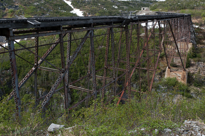 An old bridge along the White Pass Train route in Alaska