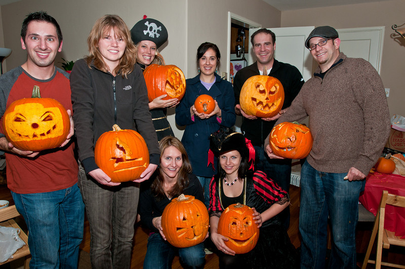 The pumpkin carving crew