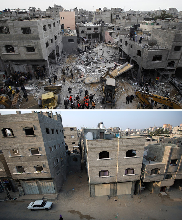 . This combination made on November 14, 2013 shows Palestinians gathering at the scene of an Israeli air raid in Beit Lahia (top) in the Gaza Strip on November 17, 2012 and a picture taken on  November 13, 2013 of the same spot following the reconstruction of the destroyed building (bottom), a year after the Israeli army operation which was launched on Gaza following the killing of top Hamas military commander Ahmed Jaabari in an air strike. A year after trading fire in a week-long war in Gaza, in which more than 170 Palestinians and six Israelis were killed, Israel and Hamas are squaring up for another confrontation, despite both sides appearing reluctant to make the first move. AFP PHOTO / MOHAMMED  ABED/AFP/Getty Images
