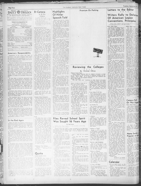 Daily Trojan, Vol. 30, No. 7, September 27, 1938