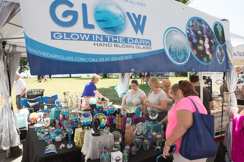 Glow in the Dark was just one of the more than 210 artisan and crafters who could not have been happier with the perfect weather and the thousands of people attending the 2019 Plymouth Waterfront Festival.  [Wicked Local Photo/Denise Maccaferri]