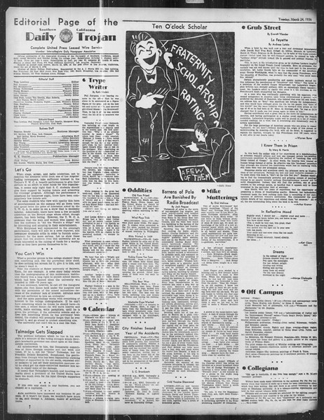 Daily Trojan, Vol. 27, No. 105, March 24, 1936