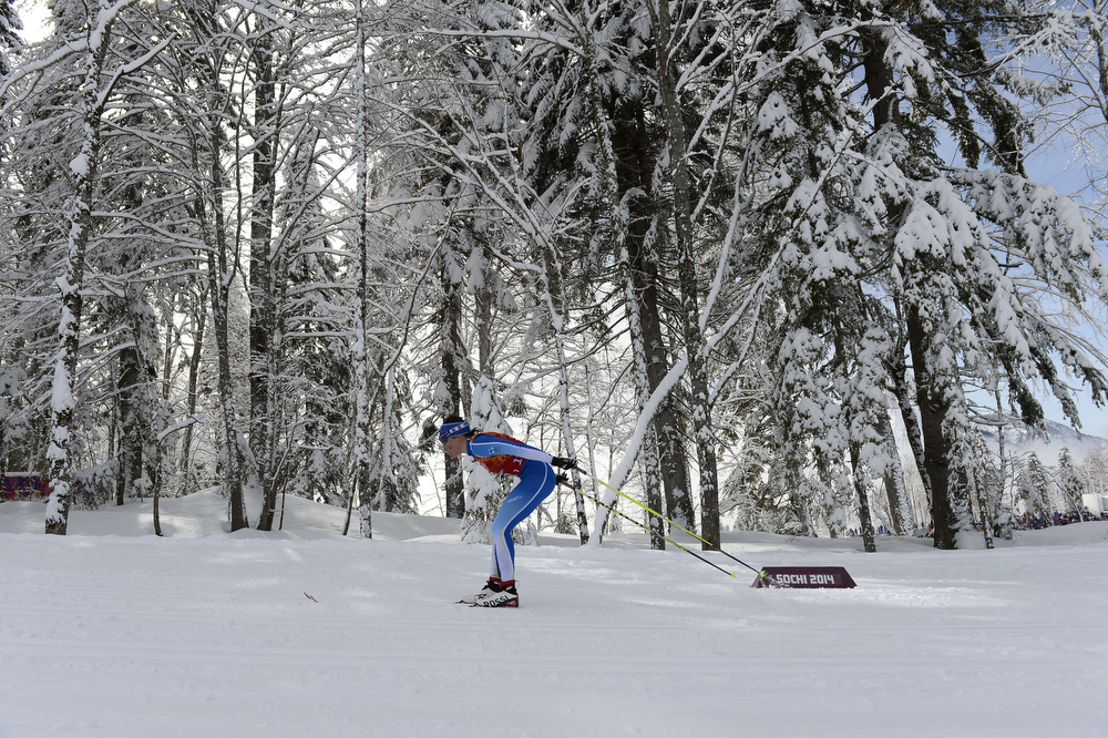 . Finland\'s Aino-Kaisa Saarinen competes in the Women\'s Cross-Country Skiing Team Sprint Classic Semifinals at the Laura Cross-Country Ski and Biathlon Center during the Sochi Winter Olympics on February 19, 2014 in Rosa Khutor near Sochi. (PIERRE-PHILIPPE MARCOU/AFP/Getty Images)