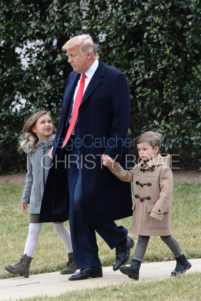 President Donald Trump leaves the Oval Office with grandchildren with Arabella and Joseph Kushner .