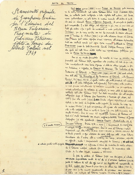Gianfranco Contini edits Petrarch's Canzoniere