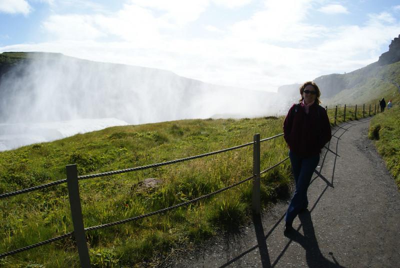 The Attache approacing Gullfoss waterfall.