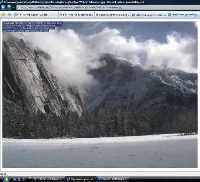 Live Webcams    You can find things such as snow on the valley floor in Yosemite or is it overcast at the beach.  Once again don't let this be your reason to stay home.  If things don't change by the time you get there improvise or change your subjects.