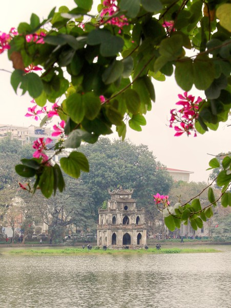 Turtle Tower stands on an islet in the middle of Hoan Kiem Lake - Hanoi