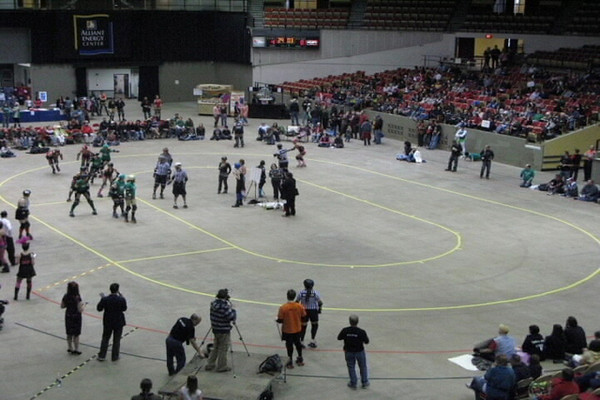 Time Lapse photography of a bout between the North Star Roller Girls and the Vaudeville Vixens on April 5th, 2009 at the Veteren's Memorial Coliseum in Madison, Wisconsin.  Madison Mad Rollin' Dolls Roller Derby  © Copyright m2 Photography - Michael J. Mikkelson 2010. All Rights Reserved. Images can not be used without permission.