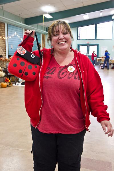 Candy and ladybug bag she won
