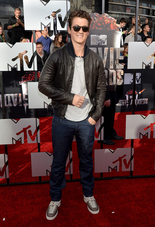 . Actor Miles Teller attends the 2014 MTV Movie Awards at Nokia Theatre L.A. Live on April 13, 2014 in Los Angeles, California.  (Photo by Michael Buckner/Getty Images)