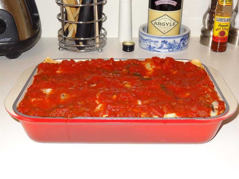 Eggplant lasagna. Home made noodles and sauce.