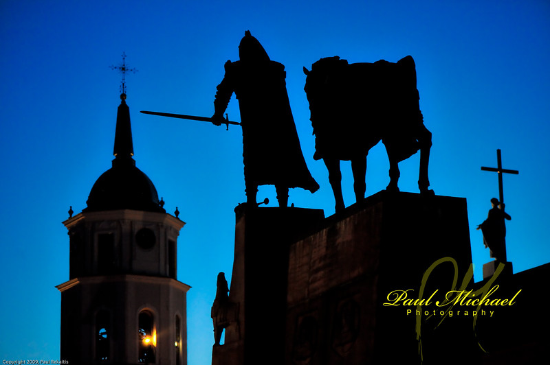 Gedeminas at night.  Gedeminas slept on a hill.  He had a dream of a howling iron wolf.  The dream meant that he should build a castle on the hill, for it will never fall.  He did and it didn't.  Which is mostly true because it still stands on the hill in Vilnius!