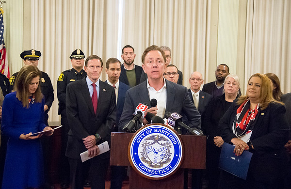 01/10/20 Wesley Bunnell | StaffrrGovernor Ned Lamont addresses the media during a conference on Friday afternoon. Senator Richard Blumenthal along with Governor Ned Lamont, Hartford Mayor Luke Bronin, Lt. Gov. Susan Bysiewicz, other government officials and community activists mets at Hartford City Hall on Friday afternoon to discuss how to help Puerto Rico after a series of earthquakes recently. The Senator called for fair and affordable prices on airline tickets leaving Puerto Rico which have skyrocketed in price. Others noted the Trump administrations failure to release federal funding already designated for relief efforts two years ago after Hurricane Maria.