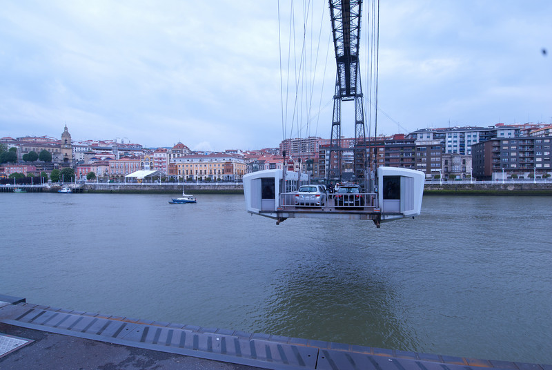 Puente Colgante, or Colgante Bridge, in Bilbao, Spain