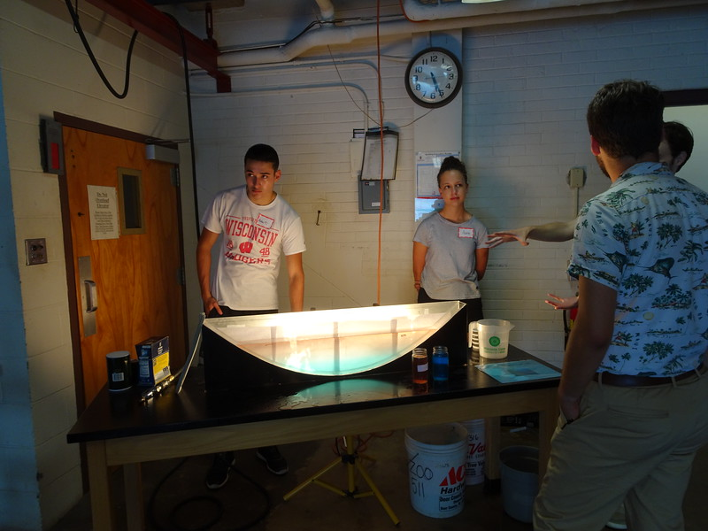 Undergrads Robert Marick (L) and Anna Schmidt at Lake Stratification Demo