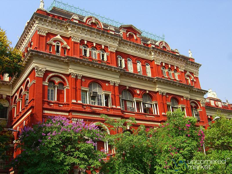 Brightly Painted Colonial Building - Kolkata, India