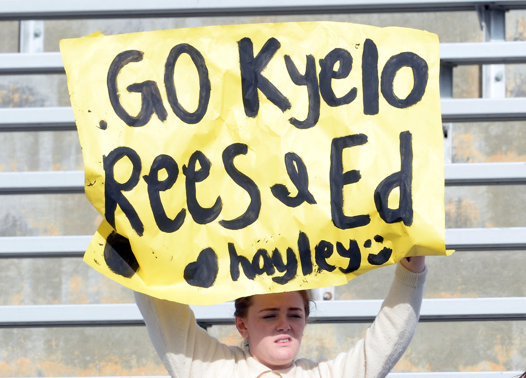. A Diamond Bar fan holds a sign in the first half of a CIF-SS quarterfinal prep playoff soccer match against Baldwin Park at Diamond Bar High School in Diamond Bar, Calif., on Thursday, Feb.27, 2014. Baldwin Park won 2-1. (Keith Birmingham Pasadena Star-News)