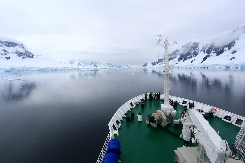 Heading up the mid point of the Nuemayer Channel, on the right (starboard) side is Wiencke Island, left (port) side is Anvers Island.