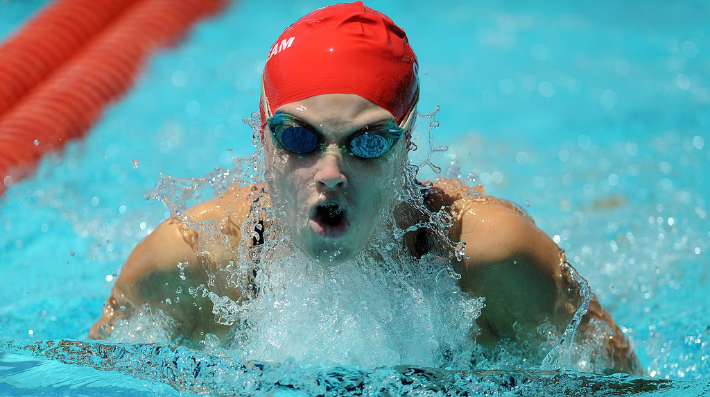 . Glendora\'s Amelia Feick finished ninth in the 100 yard breaststroke during the CIF-SS Division II swim finals at Riverside City College on Saturday, May 11, 2013 in Riverside, Calif.  (Keith Birmingham Pasadena Star-News)