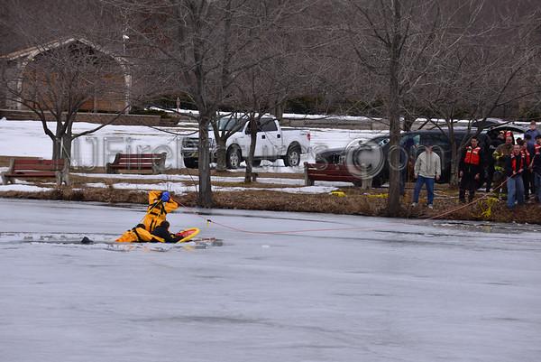 Roxbury NJ Ice Rescue at Horseshoe Lake March 16, 2014