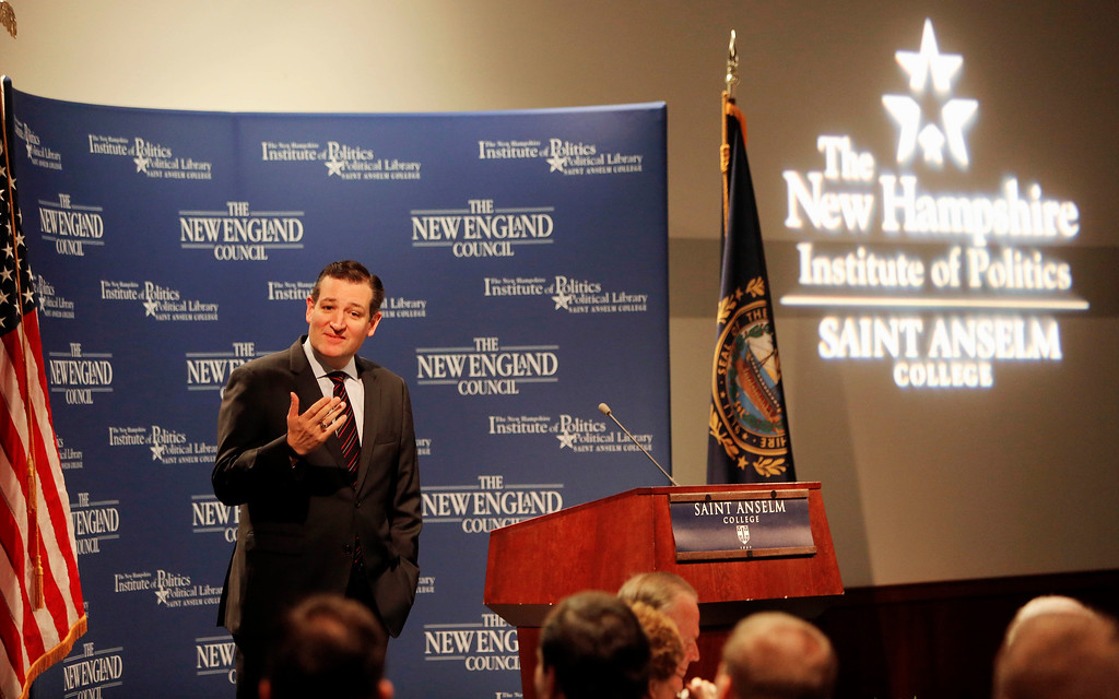 . FILE - In this Monday, March 16, 2015, file photo, Sen. Ted Cruz, R-Texas speaks with area business leaders during a Politics and Eggs breakfast, in Manchester, N.H. Cruz became the first high-profile Republican to enter the 2016 race for president on Monday, March 23, 2015. Here\'s a quick snapshot with a few key things to know about Cruz. (AP Photo/Jim Cole, File)
