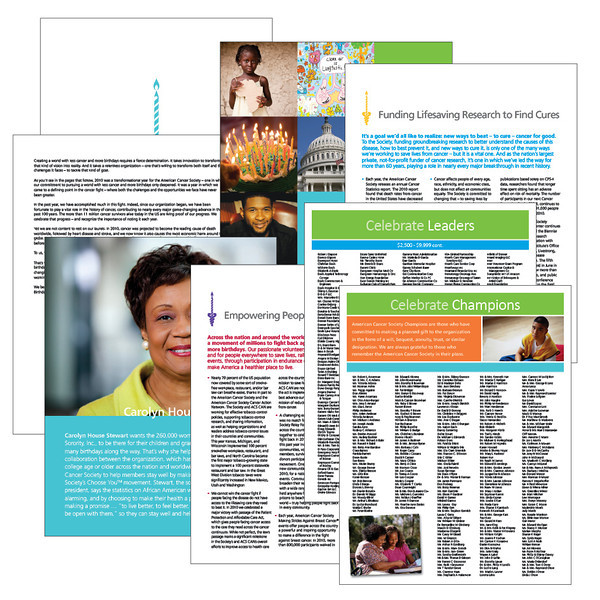 American Cancer Society Assorted pages from the 2010 Annual Report