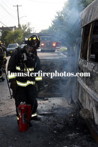 HICKSVILLE SCHOOL BUS FIRE 9-2-15