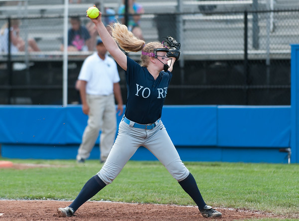 07/23/18 Wesley Bunnell   Staff York, ME defeated Peabody, MA 1-0 in Little League Eastern Region Softball on Monday afternoon. York pitcher Madison Raymond (14).