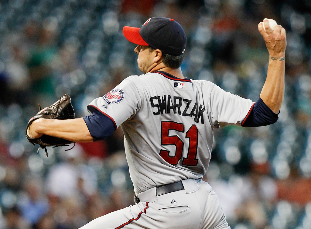 . Minnesota Twins pitcher Anthony Swarzak  throws against the Houston Astros in the sixth inning. (AP Photo/Bob Levey)