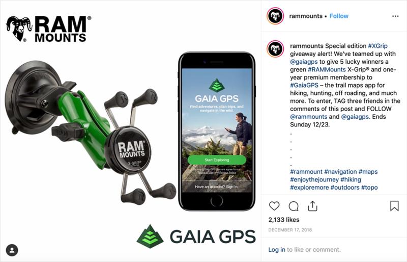 Ram Mounts - GAIA GPS Collaboritve Instagram Campaign